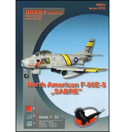 Vystrihovačka papierový model F-86 E-5 Sabre