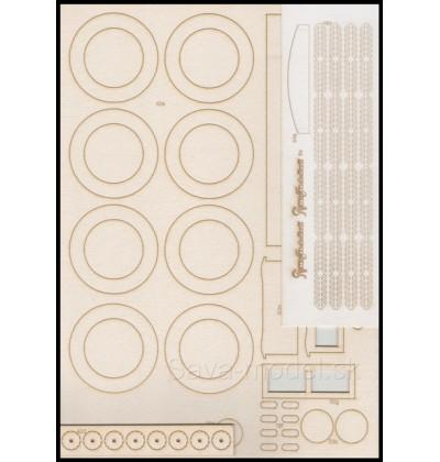 Laserom vyrezaný trup a dezény kolies Russo-Balt D24/40 1912 r