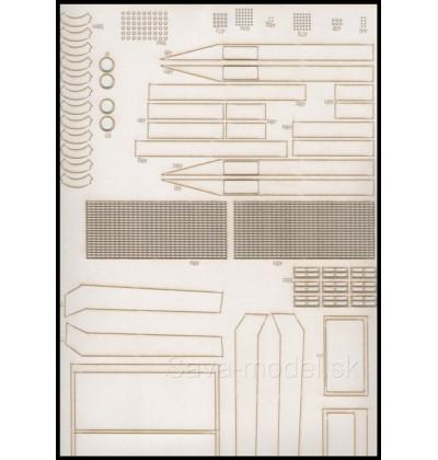 Laserom vyrezaný trup, dezény kolies a detaily Komatsu 830 E-AC