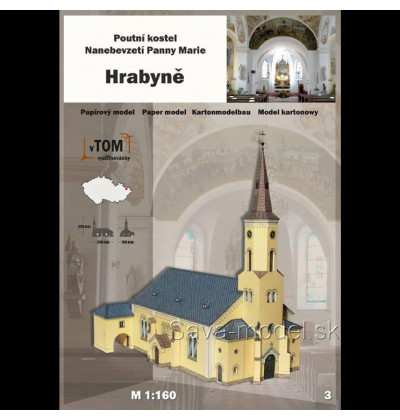 Vystrihovačka papierový model Kostel - Hrabyně