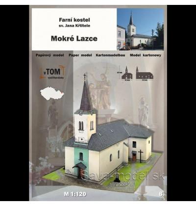 Vystrihovačka papierový model Kostel - Mokré Lazce