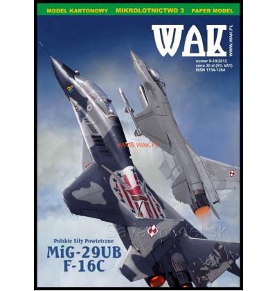 Vystrihovačka papierový model Mig-29UB, F-16C