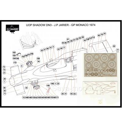 Vystrihovačka papierový model - Set UOP Shadow DN3, GP-1974, Monaco - set