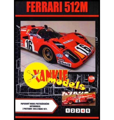 Vystrihovačka papierový model Ferrari 512M, 24h Le Mans 1971 - red