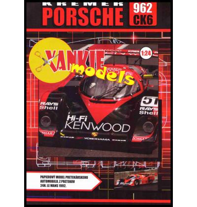 Vystrihovačka papierový model Kremer Porsche 962 CK6, 24h Le Mans 1992