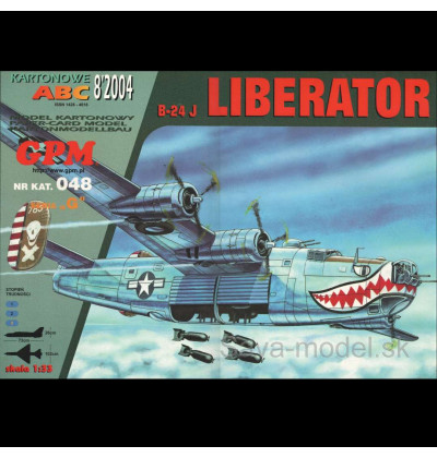 Vystrihovačka papierový model bombardéru B-24 J Liberator