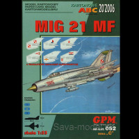 Vystrihovačka papierový model lietadla Mig-21 MF