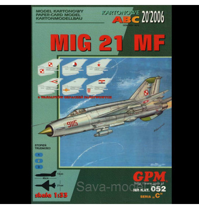 Vystrihovačka papierový model Mig-21 MF - set