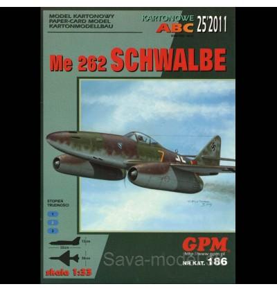 Vystrihovačka papierový model lietadla Me-262 A-1a Schwalbe