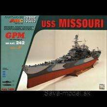 Vystrihovačka papierový model lodi USS Missouri (BB 63)
