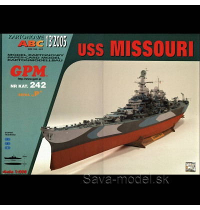 Vystrihovačka papierový model USS Missouri (BB 63) - set