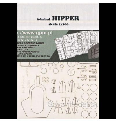 Laserom vyrezaný trup lodi Admiral Hipper