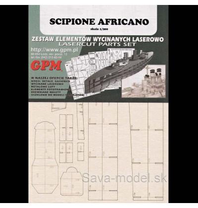 Laserom vyrezaný trup lodi Scipione Africano