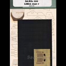 Laserom vyrezaný laserom vyrezaný trup, dezény kolies a detaily prieskumného vozidla Sd.Kfz. 222 – Líbia 1941