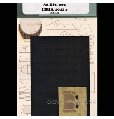 Laserom vyrezaný laserom vyrezaný trup, dezény kolies a detaily Sd.Kfz. 222 – Líbia 1941