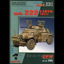 Vystrihovačka papierový model prieskumného vozidla Sd.Kfz. 222 – Líbia 1941