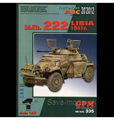 Vystrihovačka papierový model prieskumného vozidla Sd.Kfz. 222 – Líbia 1941 -set