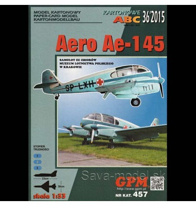 Vystrihovačka papierový model Aero Ae-145 - set
