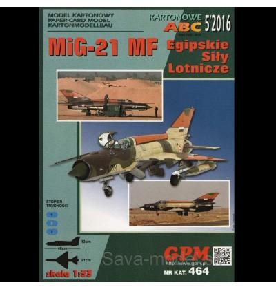 Vystrihovačka papierový model lietadla Mig-21 MF Egypt 1988