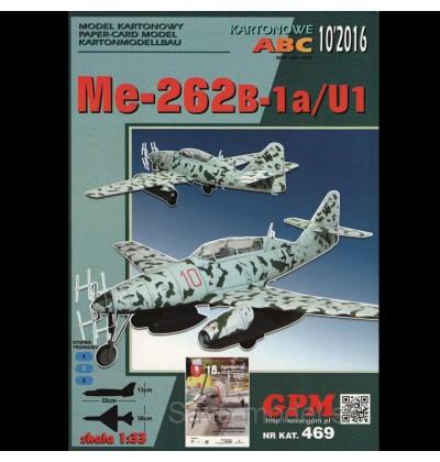 Vystrihovačka papierový model lietadla Me-262 B-1a/U1 Schwalbe