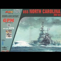 Vystrihovačka papierový model lodi USS North Carolina ( BB-55 ) -set