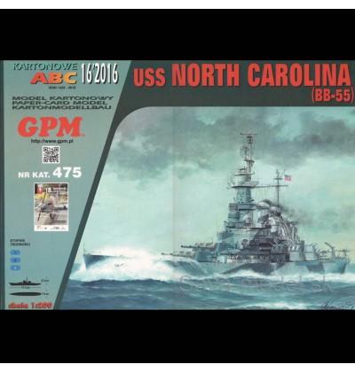 Vystrihovačka papierový model lodi USS North Carolina ( BB-55 ) -set