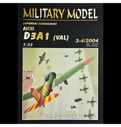 Vystrihovačka papierový model strmhlavý bombardér Aichi D3A1 Val