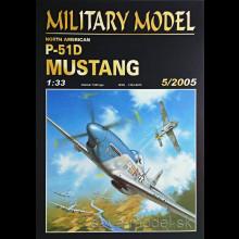 Vystrihovačka papierový model lietadla P-51 D Mustang