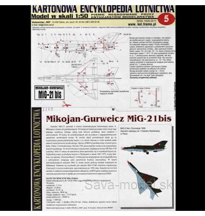 Vystrihovačka papierový model lietadla Mig-21 Bis