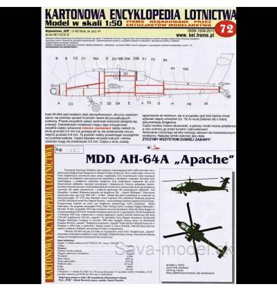 Vystrihovačka papierový model vrtuľníka AH-64 A Apache