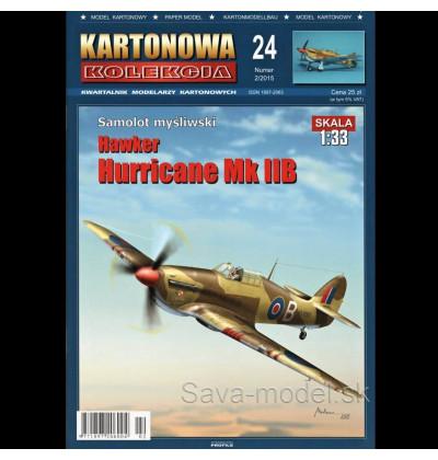 Vystrihovačka papierový model lietadla Hawker Hurricane MK. IIB