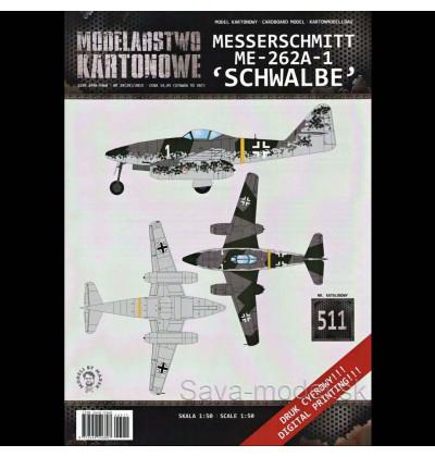 Vystrihovačka papierový model lietadla Me-262A-1 Schwalbe