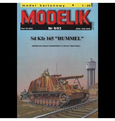 Vystrihovačka papierový model samohybného dela Sd.Kfz. 165 Hummel
