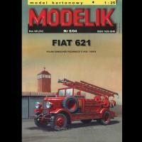 Vystrihovačka papierový model hasičského vozidla FIAT 621