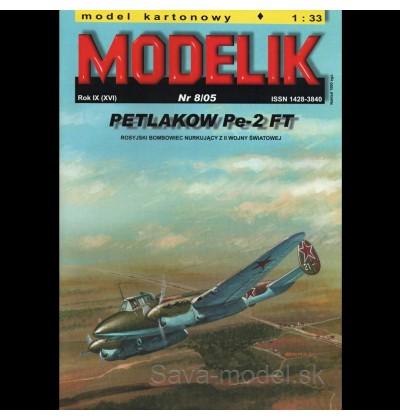 Vystrihovačka papierový model strmhlavý bombardér Pe-2 FT