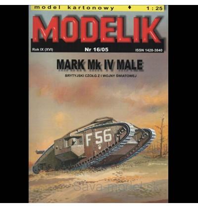 Vystrihovačka papierový model tanku Mark Mk IV Male