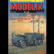 Vystrihovačka papierový model nákladného vozidla Krupp Protze L2H 143 Kfz.70