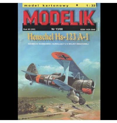 Vystrihovačka papierový model strmhlavý bombardér Henschel Hs-123 A-1