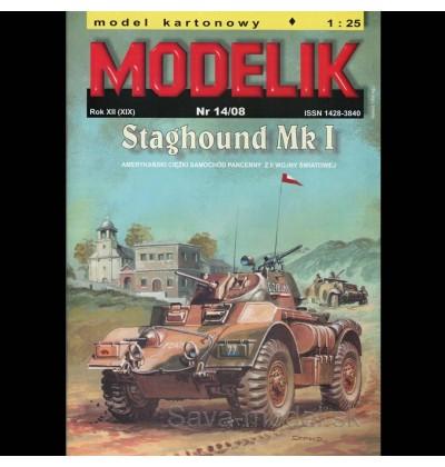 Vystrihovačka papierový model bojového vozidla Staghound Mk I