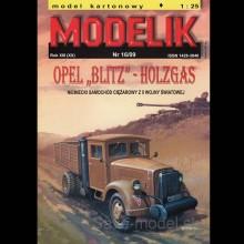 Vystrihovačka papierový model nákladného vozidla Opel Blitz - Holzgas