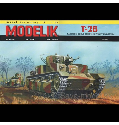 Vystrihovačka papierový model tanku T-28