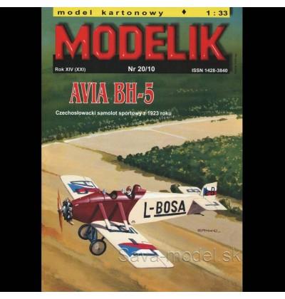 Vystrihovačka papierový model lietadla AVIA BH-5