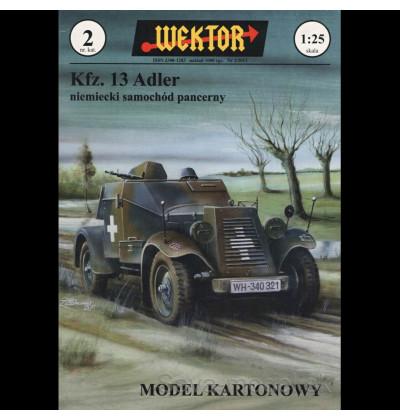 Vystrihovačka papierový model prieskumné vozidlo Kfz. 13 Adler