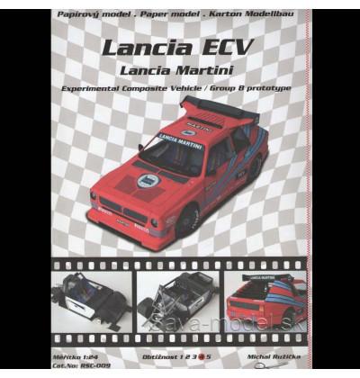 Vystrihovačka papierový model športové vozidlo Lancia ECV