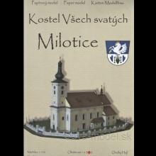 Vystrihovačka papierový model Kostel Všech svatých - Milotice