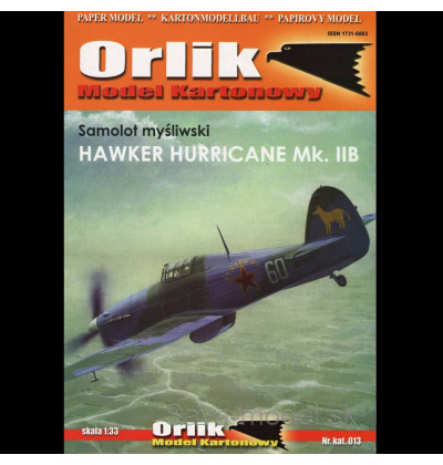 Vystrihovačka papierový model lietadlo Hawker Hurricane MK. II B
