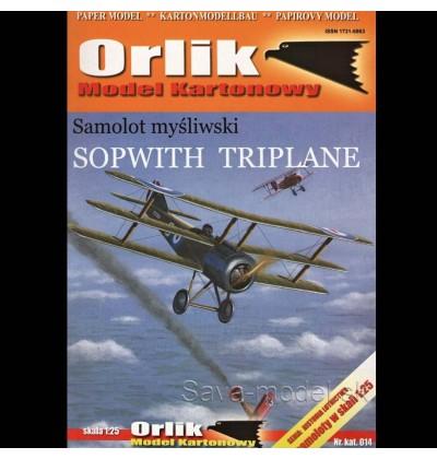 Vystrihovačka papierový model lietadla Sopwith Triplane
