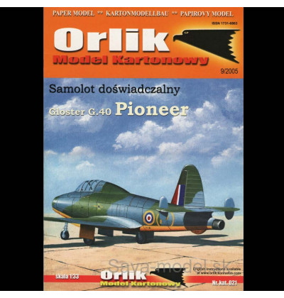 Vystrihovačka papierový model lietadla Gloster G.40 Pioneer