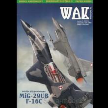 Vystrihovačka papierový model lietadiel Mig-29 UB a F-16 C