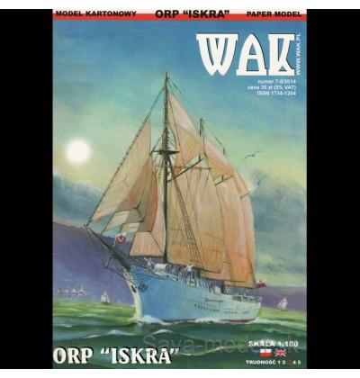Vystrihovačka papierový model plachetnice ORP Iskra (1982)